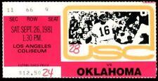 College Football Ticket Oklahoma 1981 - 9/26 - USC Marcus Dupree