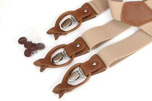 Beige Suspenders for Men, Leather Clip on/Button Suspenders for Groomsmen