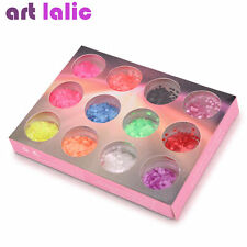 12 Neon Colors Nail Art Glitter Sequins for UV GEL Acrylic Tips DIY Decals