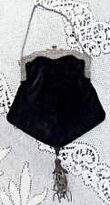 ANTIQUE BLACK VELVET VICTORIAN PURSE / BAG W SILVER ANGEL FRAME METAL TASSEL