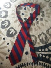 Mens Polo Ralph Lauren Tie Silk Blue Red Stripes Hand Made In USA Great Look Now