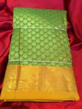 Kanchipuram Indian Silk Saree Bollywood Diwali Party Bridal Wear Sari Green #1