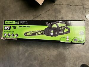 """Greenworks 60V Cordless 16"""" Chainsaw with Battery & Charger 60 Volt"""