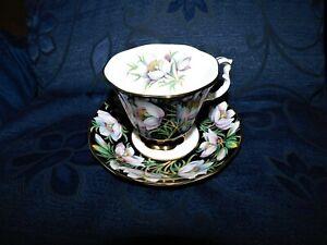 ELEGANT ROYAL ALBERT GILDED CUP & SAUCER PROVINCIAL FLOWERS PRAIRIE CROCUS 1975