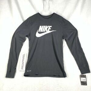 New Nike Icon Futura Long Sleeve T-Shirt Anthracite Size XS