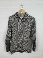 Maya Black White Chunky Knit High Neck Jumper Batwing Size S M UK 12