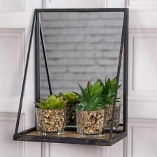 Rustic Black Mirror With Shelf Wall Storage Chic Vintage Industrial Home Decor