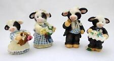 4 Collectible Vintage Enesco 1995 MARY'S MOO MOOS Bridal Party Cow Figurines