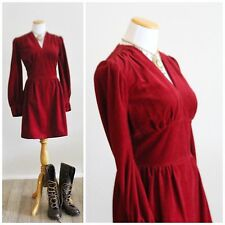 Vintage 60s SUNDAY'S CHILD California Burgundy Red Victorian Velvet Velour Dress