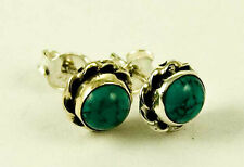 **BEAUTIFUL STERLING SILVER ROUND CABOCHON TURQUOISE STUD EARRINGS**