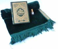 Coffret Saint Coran (Francais/Arabe phonétique) Vert+ Tapis de prière