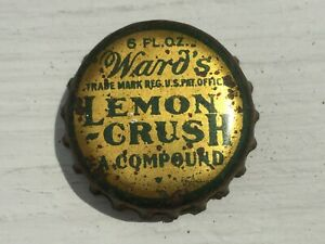 Vintage Used Cork Lined Ward's Lemon Crush A Compound 6 FL OZ Soda Bottle Cap