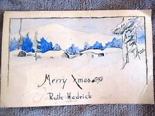 Christmas Vintage Holiday Postcard Hand Painted Snow Scene Xmas Signed