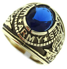Sapphire Blue Stone US Army Military Gold EP 316SS Crown Top Mens Ring