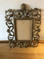 ANTIQUE GILT BRASS CAST METAL PHOTO PICTURE RECTANGLE FRAME ACANTHUS LEAF