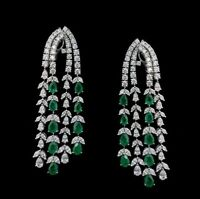 9Ct Pear Emerald Simulant Diamond Chandelier Link Earrings White Gold Fns Silver