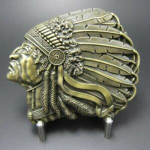 Buckle Indian Chief, Brass, Belt Buckle