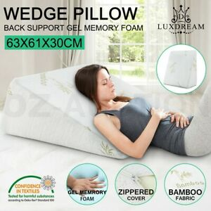 Cool Gel Memory Foam Bed Wedge Pillow Cushion Neck Back Support Sleep with Cover