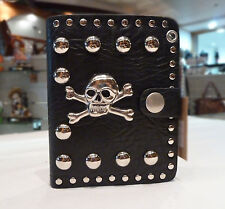 Mens Biker/Skull/Gothic black leather wallet-Skull and Crossbones
