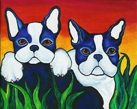 BOSTON TERRIER Eve 8x10 Signed Dog Art PRINT of Original Oil Painting by VERN
