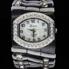 Black Grey GENEVA Crystal Bezel Designer Style Leather Ladie's Watch Bgr5016