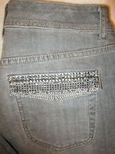 Chico's Platinum Tyrus MR Stretch Flap Pockets Womens Gray Jeans Size 0.5 R x 32
