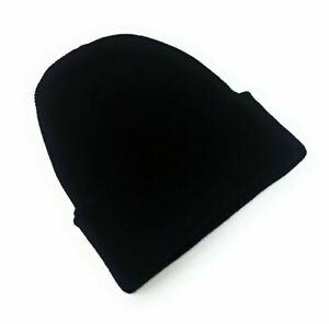 Beanie Hat Thermal Lining Mens Ladies Womens Winter Woolly Ski Knitted Black