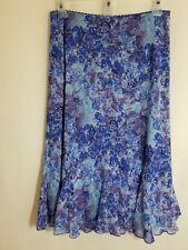 Dress Barn Skirt Size M Purple, Blue, Turquoise Leaves and Flowers