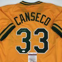 Autographed/Signed JOSE CANSECO Oakland Yellow Baseball Jersey JSA COA Auto