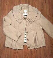 ANN TAYLOR LOFT Jacket Cotton Beige Lined Button Down Tan SMALL