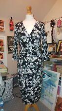 Floral Phase Eight Jersey Midi Dress UK 12 Grey Black White Work-wear Stretchy
