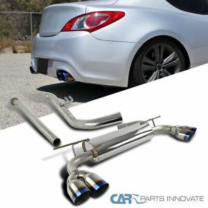 For 09-14 Genesis 2Dr 2.0T S/S Catback Exhaust Quad Titanium Tip Muffler System