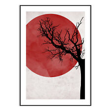 Red Moon With Tree Modern Wall Art Poster Stylish Fashion Prints House