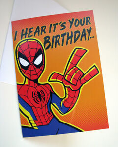 "Spider-Man Birthday Card Premium 5"" x 7"" Funny Greeting Card Marvel Comics"
