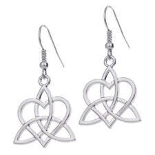 Viking Trinity Celtic Knot Hollow Silver Tone Drop Earrings for women