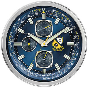 CITIZEN CC2030 Indoor Outdoor Wall Mounted Blue Angels Clock with Thermometer