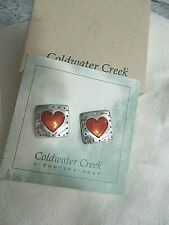 With Heart Design Sterling Earrings Square Frame