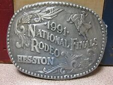 Vintage 1991 Hesston National Finals Rodeo Belt Buckle NOS FREE SHIPPING!