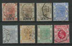 Hong Kong QV to KEVII group 8 stamps with French maritime cancels