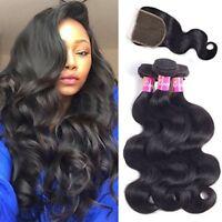 Body Wave Human Hair 3 Bundles with Closure 4X4 Free Part Brazilian Virgin Hair