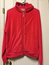 Mountain Lake Casuals Hoodie Jacket Size L Large Full Zip Coral Velour