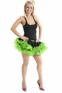 NEW LADIES 2 LAYER RUFFLE BLACK GREEN TUTU SKIRT HALLOWEEN FANCY DRESS ACCESSORY