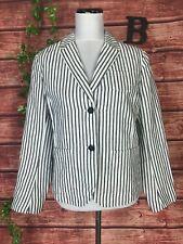 Gap Blazer Jacket size 10 Black White Striped Classic Career Preppy Nautical