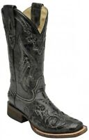 Corral Ladies Square Toe Cowboy Western Boots Black Snake Inlay A2402