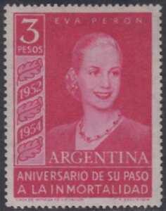ARGENTINA 1954 EVA PERON Sc 627 KEY VALUE WTMK 288 HINGED MINT F,VF SCV$250.00