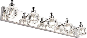 PRESDE Bathroom Vanity Light Fixtures Over Mirror Modern LED 5 Lights Glass