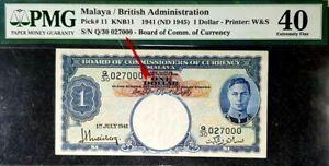 PMG 40 EF 1941 MALAYA & BRITISH 1 Dollar Note S/N-Q/30 027000(+FREE1 note)#17195
