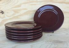 "Set of (7) Ralph Lauren BURGUNDY STONEWARE Salad Plates - Made in Italy - 9"" Dia"