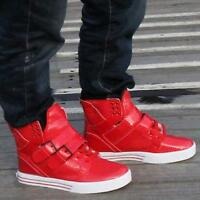 Men's High Top Sneakers Buckle Lace Up Boots Hip-hop Skateboard Casual Shoes dd