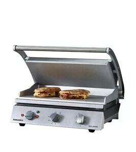 Contact Grill Sandwich Press Roband Smooth Aluminium 15amp 560x490x220mm GSA815S